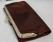 70% OFF MOVING SALE Vintage  Buxton~Supple Brown Leather Cowhide~Wallet~Coin~Double Kisslock