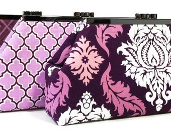 Purple Plum Bridesmaid Clutches, Wedding clutch, Bridal Party Bags, Custom Personalized Gifts, Eggplant Orchid Lavender
