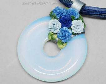 Blue Roses and Opalite Donut Necklace, Opalite Pendant, Opalite Necklace, Rose Necklace, Ribbon Necklace, Polymer Clay Pendant