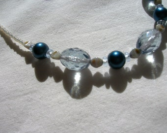 Light blue Czech bead and dark blue glass pearl bead necklace