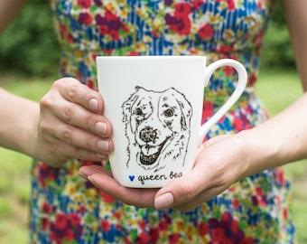 Personalized Dog Portrait Mug Hand Drawn Pyrenees