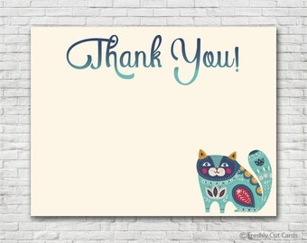 Lotus Flower Cat Thank You Card