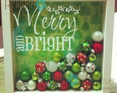 Original Merry and Bright Shadow Box Vinyl Lettering 9x9 Shadow Box, lettering ONLY