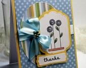 "Handmade Thank You Card - 3D Greeting Card - 4.25 x 5.5""  Thanks Blank Stationery Notecard Grateful Gratitude - OOAK"