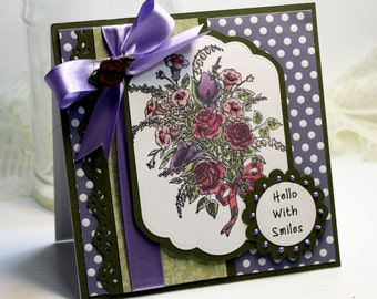 "Thinking of You Card - Handmade Card Greeting Card 5.25 x 5.25"" Hello With Smiles Stampin Up 3D Card Purple Flower Bouquet - OOAK"