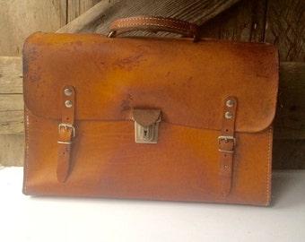 Leather Briefcase Attache Messenger Portfolio