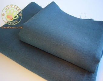 Linen fabric remnants Sale! Thick rustic linen flax large out cuts for DIY decor; Homespun style dark navy blue pure linen fabric