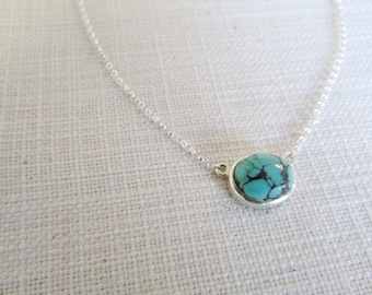 Turquoise necklace sterling silver gemstone necklace turquoise pendant handmade unique jewelry genuine turquoise