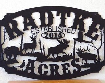 Moose, Deer, Bear, and Elk Wildlife Personalized Sign LMW-16-71