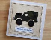 Land Rover jeep applique  birthday textile card