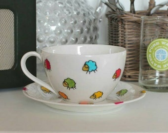 Sheep rainbow sheep teacup and saucer knitters gift