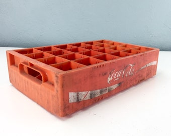 Vintage Red and White Coca Cola Crate, Plastic Coke Box, Advertising from 1950s, Enjoy Coca Cola, Coke Collector
