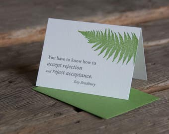 Inspiration card with Ray Bradbury quote, letterpress printed, eco-friendly, Fern