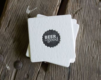 BEER is GOOD Black Coasters, modern beer cap design (Letterpress printed, 3.5 inches) set of 8, perfect gift for home brewer or beer lover