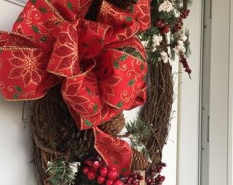 Winter wreath, outdoor door wreath, outdoor Christmas wreath, Winter decorations, front door wreath, rustic wreath, Christmas wreath