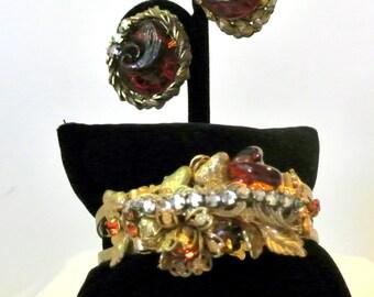Vintage Miriam Haskell Clamper Bracelet And Matching Earrings Set Demi Parure
