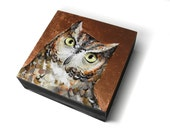 Screech owl painting - metallic copper - owl art block - owl collector gift - small owl painting