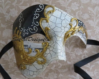 Phantom Mask, Masquerade Mask, Mens Mask, Gold Mask, Mask For Man, Phantom Of The Opera, Italian Mask, Half Mask, Male Mask, Mardi Gras Mask