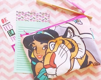 aladdins princess jasmine Cute upcycled cosmetic or pencil bag