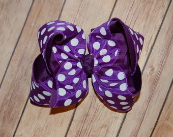 SSD Purple & White Dot Hair Bow