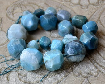 Blue Faceted agate big nugget stone beads, gemstone Beads ,agate stone beads ,agate stone beads
