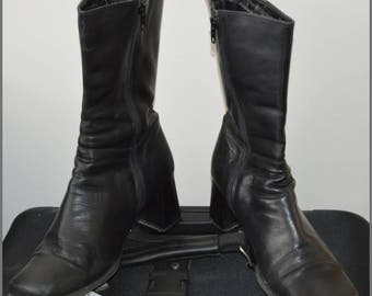 SALE! These Boots are made for....Pegabo Black Leather Chunky Heel 1970's Boots-Beatles Era