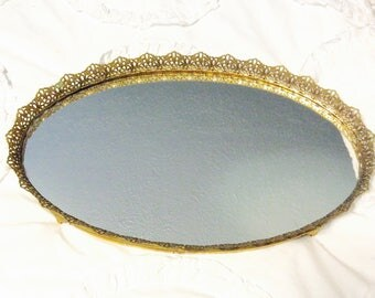 "Vintage Gold Dresser Mirror Tray Filigree Vanity Tray Ormolu Footed 18.75"" Large 24Kt Gold"