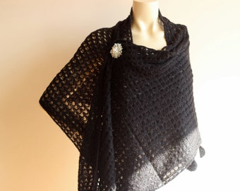 Black Knitted Shawl with Pompom-Black Knitted Scarf-Black Long Scarf-Wedding Shawl ,Shrug, Shoulder Cover