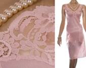 Elegant 'Sudtrikot' XL plus size sheer silky soft glossy rose pink nylon and delicate lace detail 80's vintage full slip petticoat - PL1592