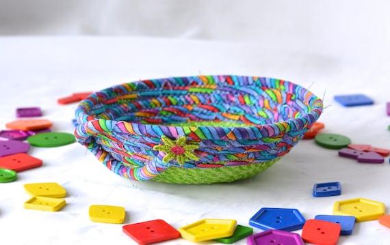 Green Ring Bowl, Fun Basket, Handmade Funky Bowl, Gift Basket, Desk Home Office Decoration,  Trinket Bowl, Change Basket