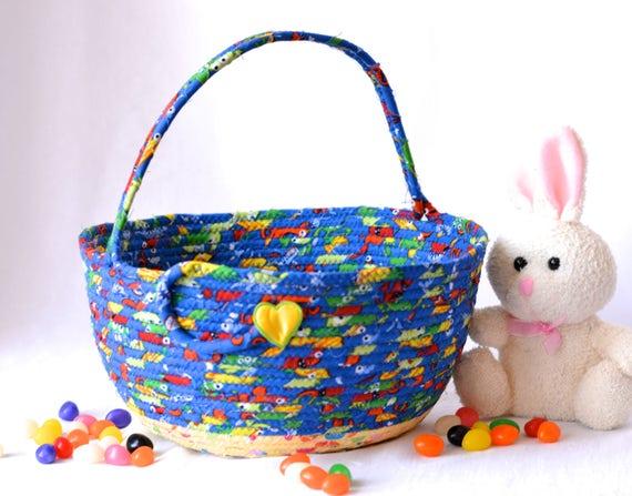 Boy Lego Storage Basket, Handmade Easter Bucket, Crayon Basket, Boy Room Toy Organizer, Stuffed Animal Bed Bin