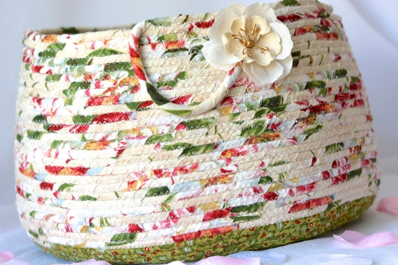 Christmas Floral Basket, Handmade Coiled Fabric Basket, Lovely Holiday Kitchen Decor,  Bathroom Storage Basket, Magazine Rack