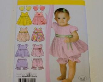 Baby Clothes Pattern Simplicity 3854: Babies' Dress or Jumper, Top, Pantaloons and Bolero Sizes XXS-L UNCUT
