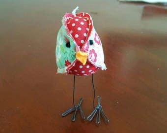 aqua and red fabric stuffed bird mini soft sculpture moda material quilting farmhouse decor