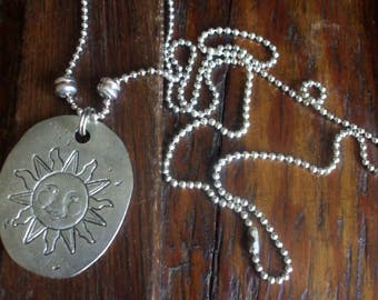 "Vintage Silver Tone Pewter Look Necklace Large Sun Pendant And 28"" Chain Rustic Boho Hippie 1980's"