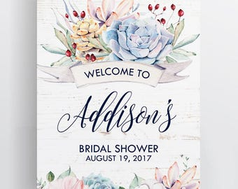 Sweet Dainty Floral Succulent Bridal Shower Welcome Printable Party Sign, I will customize for you, Print your own