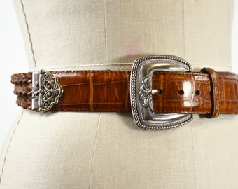 Brown Braided Belt Medium Brighton Type Leather Belt with Large Silver Ornate Buckle Alligator Embossed Leather