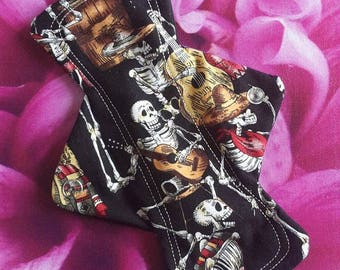 1 washable reusable regular cloth sanitary pad, black cotton, dancing skeletons, UK