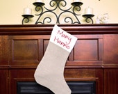 Customized Embroidered Linen Christmas Stocking With Choice of Font and Color
