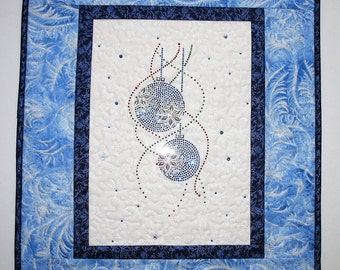 Christmas Wall Hanging, Metallic Silver, Blue,Ornaments, Swarovski Crystals, focus fabric Timeless Treasure