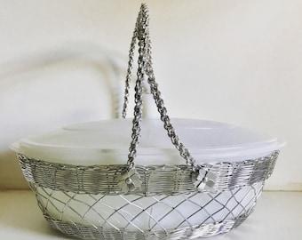 Vintage Glasbake Casserole Dish, Casserole Dish with Carrier, Vintage Glasbake, Vintage Covered Casserole Dish, Casserole Dish with Lid