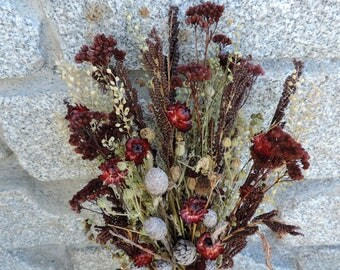 Dried Flower Bouquet Floral Arrangement Red Strawflowers Fern Fronds Natural Pods Wild Yarrow Dyed Burgundy Pepper Grass Woodland Flowers