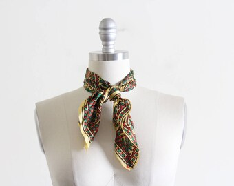 Vintage Silk Scarf / Made in India / Block Pattern
