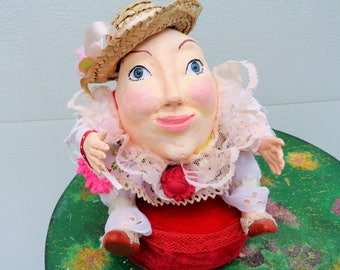 """Mrs. Humpty Dumpty Art Doll, Humpty Dumpty's wife inspired by the """"Puss in the Boots """", """"Alice in Wonderland """"movies, OOAK."""