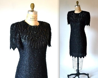 15% OFF SALE 90s Vintage Black Beaded Sequin Dress Size Medium 90s Party Dress in Black Medium Laurence Kazar Art Deco 20s Flapper Inspired