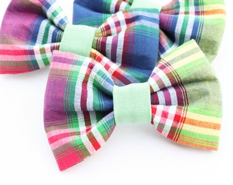 Plaid Dog Bowtie // Bright Colored Pet Bowtie // Dapper Dog // Velcro on collar Bowtie // Wedding Pet Outfit