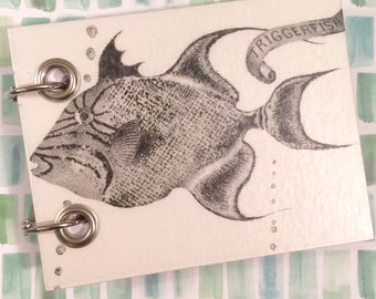 Recycled Notebook - Small Refillable Notepad - Upcycled Children's Book - Fish - Black and White