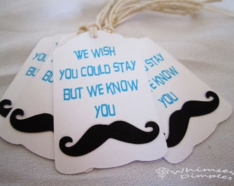 Mustache Party Favor Tag - Punny Little Mister Hang Tag, Must Dash, Set of 10, Valentine, Stache Bash, Graduation, Birthday, Color Options