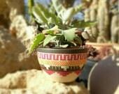 Ceramic planter pottery Succulent planter Carved  sgraffito Vase Pot Home deco Geo Aztec Geometric vase bohemian decor indoor