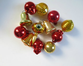 Vintage Shiny Brite Bells Beehives and Lanterns, Mini Tree Ornaments, Red and Gold Ornaments, Holiday Mini Shiny Brite Tree Ornaments